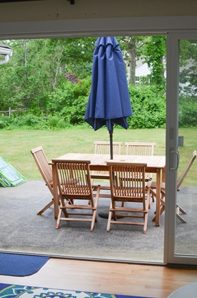 Dennis, North 6A, Bay Beaches! Cape Cod vacation rental - New teak dining set on deck facing private back yard.
