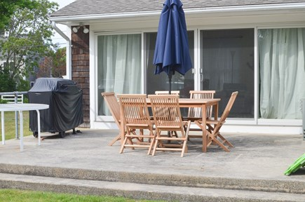 Dennis, North 6A, Bay Beaches! Cape Cod vacation rental - Teak dining set, umbrella, gas grill on sunny deck.
