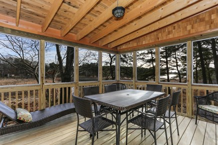 Wellfleet Cape Cod vacation rental - Screened in porch off the kitchen with more marsh views