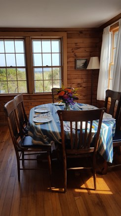 Sagamore Beach Cape Cod vacation rental - Dining area, table seats eight when extended.