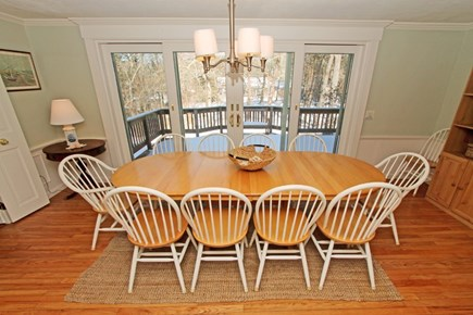 East Brewster Cape Cod vacation rental - Large open dining area adjacent to deck through double sliders.