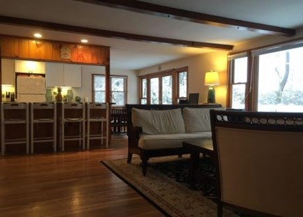 Harwich Cape Cod vacation rental - Spacious living room with pond views