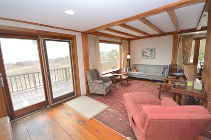 East Orleans Cape Cod vacation rental - Main living area with picture windows and sliders facing the sea