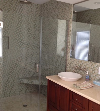 Dennis Cape Cod vacation rental - Spacious master shower with 'rain head' and handheld shower.