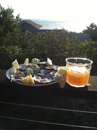 Eastham Cape Cod vacation rental - Wellfleet Oysters & Hard Ice Tea on the deck overlooking the Bay