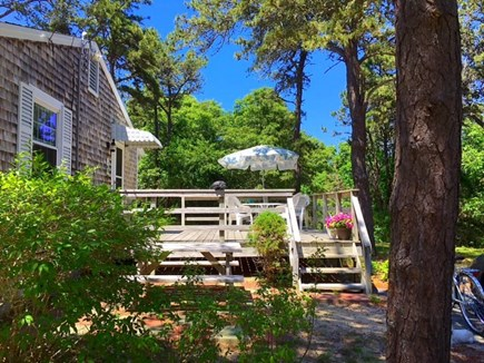 Chatham, Cockle Cove area Cape Cod vacation rental - Deck with table, umbrella & picnic bench in large private yard