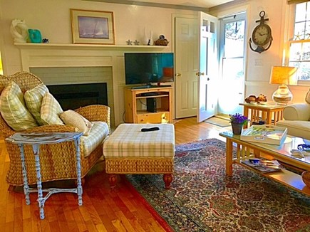 Chatham, Cockle Cove area Cape Cod vacation rental - Living room, gas fire-place & TV