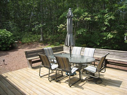 Dennis Village Cape Cod vacation rental - The deck with yard beyond