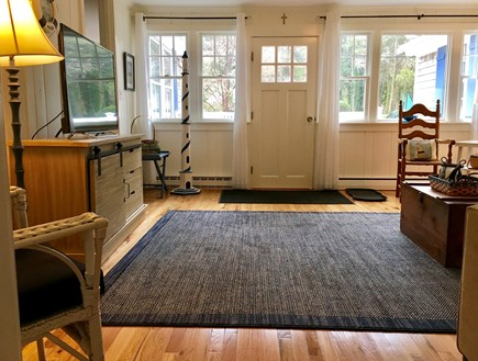 East Orleans Cape Cod vacation rental - Living room, new hardwood floor, with flat screen cable TV.