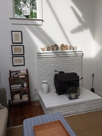 Provincetown Cape Cod vacation rental - High ceiling, wood stove,  art books and novels.