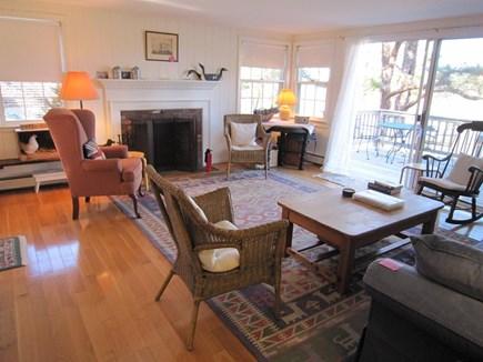 Wellfleet Cape Cod vacation rental - Living room with slider to deck.