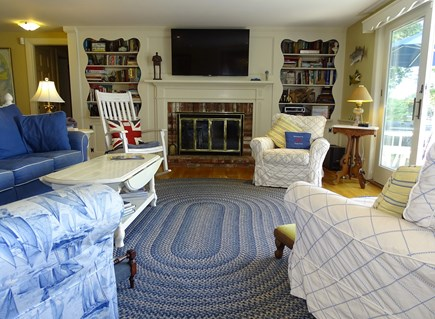 Bass River, S Yarmouth Cape Cod vacation rental - Living room with flat screen, opens to deck