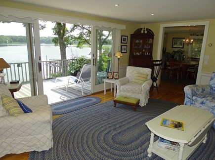 Bass River, S Yarmouth Cape Cod vacation rental - Living room with vast water views, slider to deck