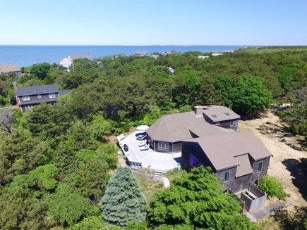 Eastham Cape Cod vacation rental - Aerial view, 2 homes back from a private beach on Cape Cod Bay