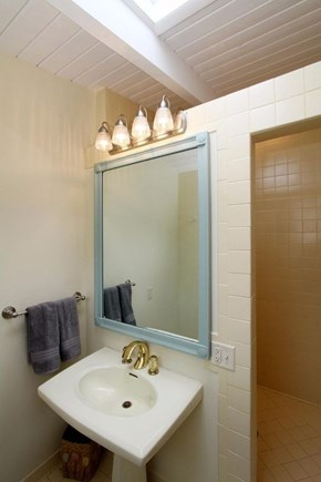 Eastham Cape Cod vacation rental - Master bath with walk-in shower and skylight