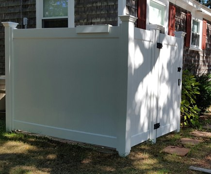Dennisport Cape Cod vacation rental - Spacious outdoor shower- dressing area/hooks/sprayer for feet
