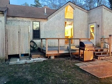 East Dennis /Scargo Hill Cape Cod vacation rental - Rear view. Patio furniture is included.