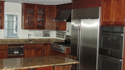 Hull MA vacation rental - Kitchen with Sub-Zero and hand-crafted cherry cabinets.