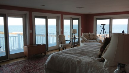Hull MA vacation rental - Large master bedroom with king bed and seating area.