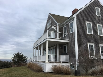 Hull MA vacation rental - Front and side of house facing beach and Boston skyline.