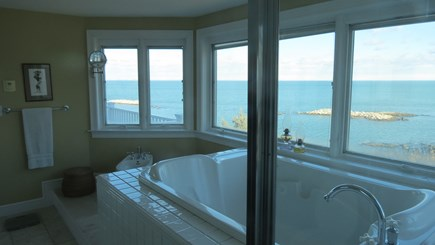 Hull MA vacation rental - Master bath with jacuzzi tub, shower, and bidet.
