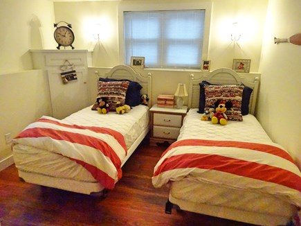 East Orleans Cape Cod vacation rental - Third bedroom with two twin beds on lower level.