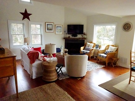 East Orleans Cape Cod vacation rental - Living room with Flat screen TV and views of the water