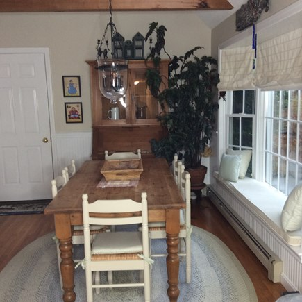 South Eastham 7 mins to Orlean Cape Cod vacation rental - Large farmhouse dining room table seats eight