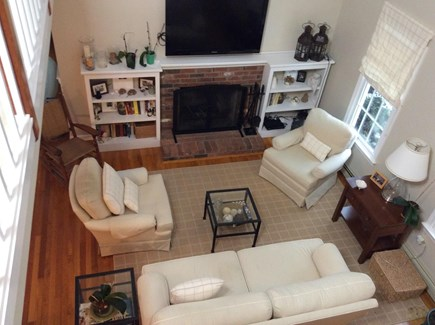 South Eastham 7 mins to Orlean Cape Cod vacation rental - Spacious LR with flatscreen TV, Wi-Fi, fireplace & window AC