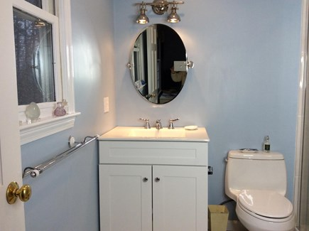South Eastham 7 mins to Orlean Cape Cod vacation rental - Master bath with walk in shower on right edge of toilet