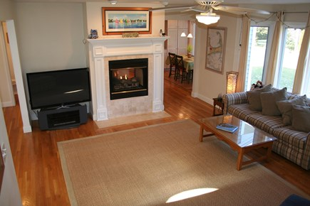 Brewster Cape Cod vacation rental - Living room fireplace