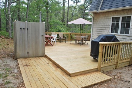 Wellfleet Cape Cod vacation rental - Enclosed outdoor shower with hot and cold/ gas grill on new deck