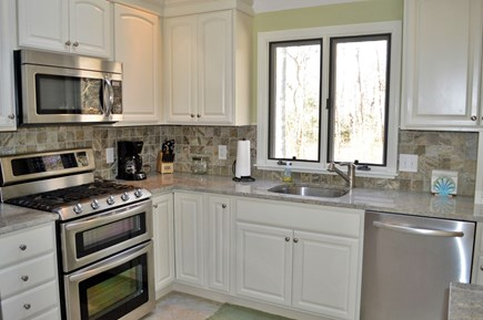 Dennis Cape Cod vacation rental - Granite Kitchen with stainless appliances and gas stove