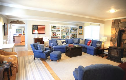 Dennis Cape Cod vacation rental - Main Living Room, Apple TV, Gas fireplace, central air
