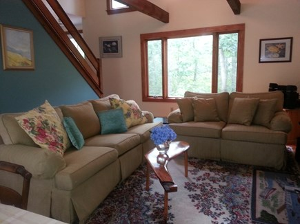 Wellfleet; less than a mile to Cape Cod vacation rental - Living Room with vaulted ceiling