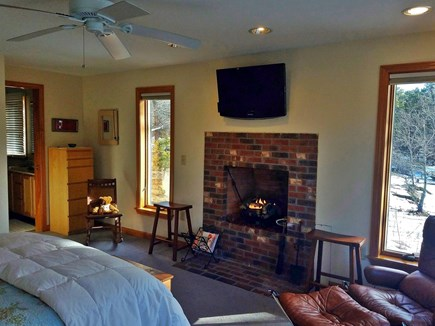 Wellfleet Cape Cod vacation rental - Master Bedroom with fireplace, flat screen and master bath