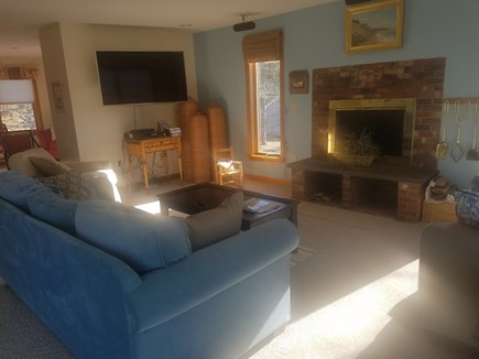 Wellfleet Cape Cod vacation rental - LR with fireplace and 55 inch flat screen with surround sound