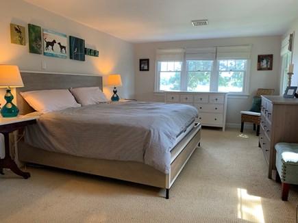 Mashpee Cape Cod vacation rental - Master bedroom- king bed and attached bathroom w/ ocean views