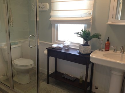 Mashpee Cape Cod vacation rental - Guest bathroom with oversized glas shower