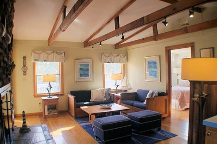 Wellfleet Cape Cod vacation rental - Bright and sunny living room with fireplace, cable TV and Wi-Fi
