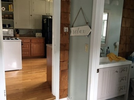North Falmouth Cape Cod vacation rental - Mudroom and bathroom leading into Kitchen