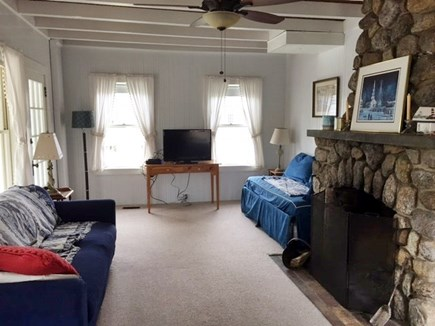 North Falmouth Cape Cod vacation rental - Living room and fireplace