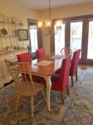 Falmouth, Waquoit Bay Cape Cod vacation rental - Dining Room Table with Additional Breakfast Nook Nearby