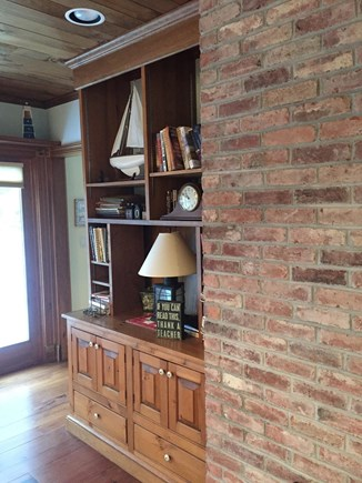 Falmouth, Waquoit Bay Cape Cod vacation rental - Exposed Brick in Family Room