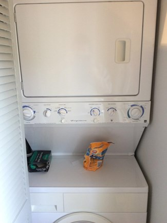 Brewster Cape Cod vacation rental - Stack washer/dryer in kitchen