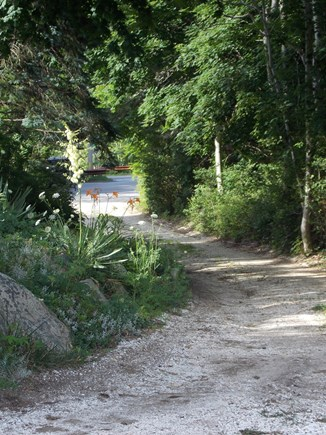 Brewster, Lower Cape, Located  Cape Cod vacation rental - Main Driveway entrance with  stony brook road below