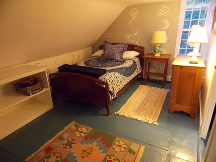 Brewster, Lower Cape, Located  Cape Cod vacation rental - Bedroom upstairs with Double Bed, dresser and shelves