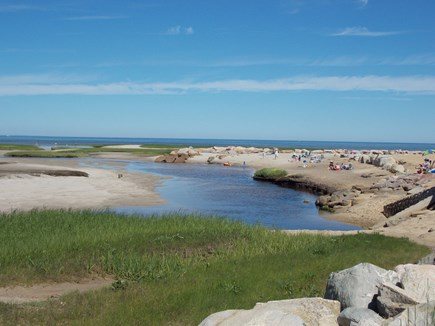 Brewster, Lower Cape, Located  Cape Cod vacation rental - Paines Creek Beach on Cape Cod Bay at low tide