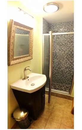 New Seabury New Seabury vacation rental - Shower with glass tile walls & foot massaging river stones.