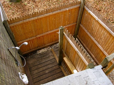 Eastham Cape Cod vacation rental - Outside shower with dressing area behind garage